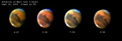 [Rotation of Mars over 3 hours, September 18, 2005.  The image shown is reduced in size in size to fit this page.  Click on the image to load a full size image in a new window.]